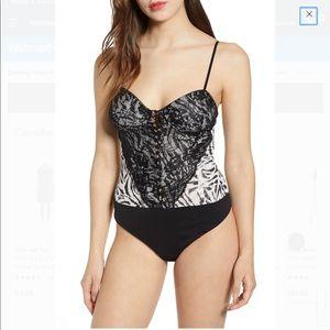 AFMR    zebra and lace bustier bodysuit size Sm